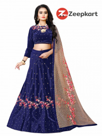 Blue Designer Embroidered Work Velvet Material Lehenga Choli LC 184