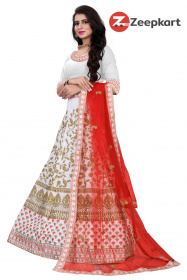 White - Red Dupatta Designer Embroidered satin Lehenga Choli LC 185