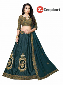 Drasty Green Attractive Malay satin lehenga choli With Stone LC 196