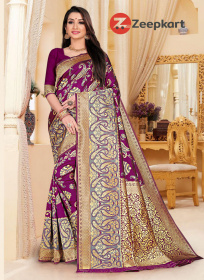 Zk Purple Colour Lichi Silk Saree