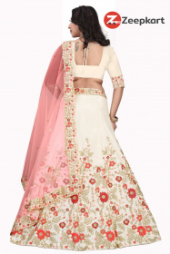 Off white Embroidered Attractive Party Wear Satin Lehenga choli LC 210