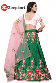 Green Partywear Embroidered Malay Satin Silk Lehenga  Choli LC 225