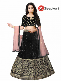 Black Designer Embroidered Velvet Material Lehenga Choli LC 227