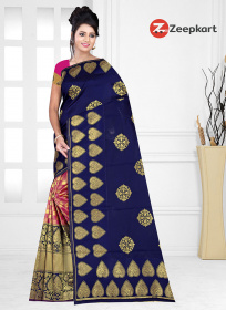 ZK N.blue & Rani Colour Contras Soft Silk Saree