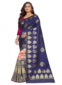 ZK N.blue & Rani Colour Lichi Silk Saree