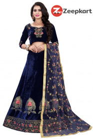 Blue Designer Embroidered Work Velvet Material Lehenga Choli LC 230