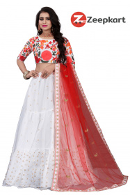 Grey Colored Blouse Embroidered Attractive Lehenga  Choli LC 245