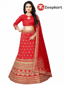 RED COLORED PARTYWEAR DESIGNER MALAY SATIN SILK LEHENGA CHOLI LC 251