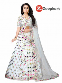 White Colored Party Wear Lehenga Choli With Embroidery Work LC 260
