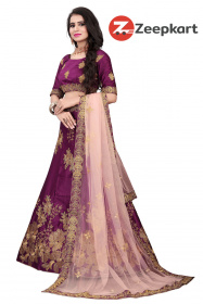 Magenta Colored Partywear Designer Silk Lehenga Choli LC 303