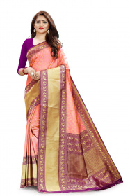 DD 101 Peach Colour Zari Border Silk Saree