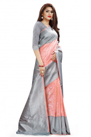 DD 102 Peach Gray Colour Silver Zari Border Silk Saree