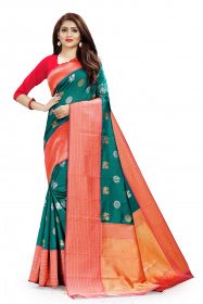 DD 103 C.Green & Rama Colour Gold Zari Border Silk Saree
