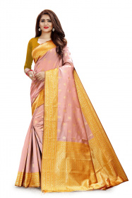 DD 106 Orange & Pista Colour Gold Zari  Silk Saree