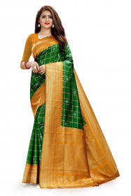 DD 107 Green & Orange Colour Gold & Silver Zari  Silk Saree