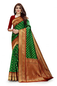 DD 108 Green & Red Colour Gold Zari  Silk Saree