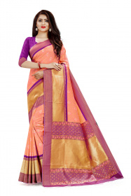 DD 109 Light Pink Colour Gold & Silver Zari  Silk Saree