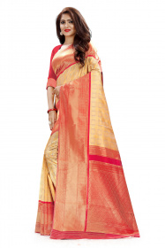 DD 110 Cream & Red Colour Red Gold Zari  Silk Saree