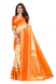 DD 111 Cream & Orange Colour Gold Zari  Silk Saree