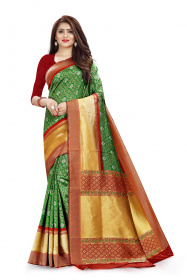 DD 112 Green & Red Colour Gold Zari  Silk Saree