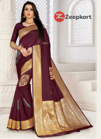 ZK wine Color Soft Silk Saree