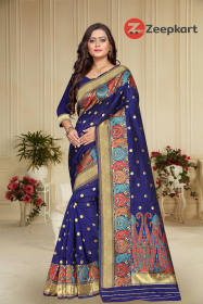 ZK N.Blue  Colour Lichi Silk Saree