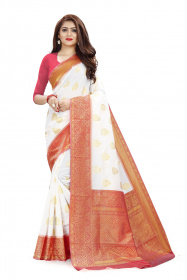 DD 113 White & Red Colour Gold Zari  Silk Saree
