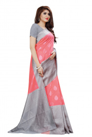 DD 119 Musterd & Grey Colour Silver Zari  Silk Saree