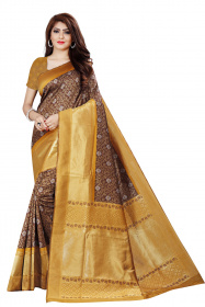 DD 120 Coffi Colour Silver Zari  Silk Saree