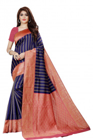DD 121 N.Blue Colour Gold Zari  Silk Saree