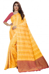 DD 124 Yellow Colour Gold Zari  Silk Saree