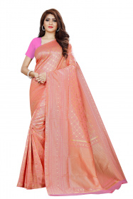 DD 125 Pink Checks Colour Gold Zari  Silk Saree