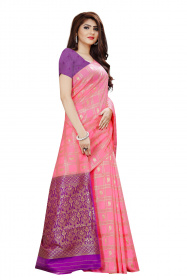 DD 128 Pink Checks Colour Gold Zari  Silk Saree