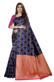 DD 129 Royal Blue Checks Colour Gold Zari  Silk Saree