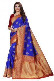 DD 130 Royal Blue Colour Gold Zari  Silk Saree