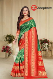 ZK Red & Green Colour Lichi Silk Saree