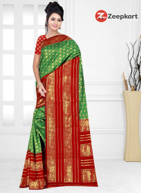 ZK Red & Green Colour Soft Silk Saree