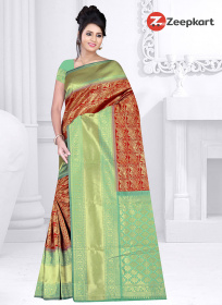 ZK Light Green & Red Colour Lichi Silk Saree