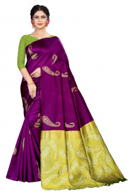 DD 150 Purple  Colour Silk Saree