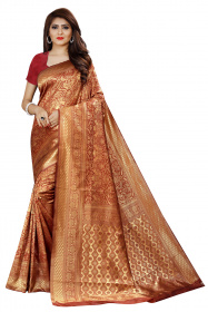DD 141 Maroon Colour Gold Zari Silk Saree