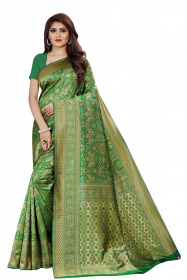 DD 143 Green Colour Gold Zari Silk Saree