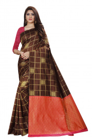 DD 145 Wine Coffi Checks Colour Gold Zari Silk Saree
