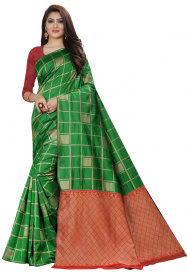 DD 151 Green Checks Colour Gold Zari Silk Saree