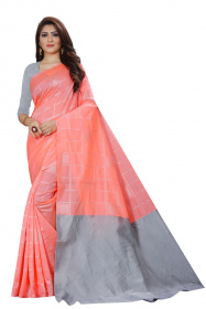 DD 152 Pink Checks Colour Gold Zari Silk Saree