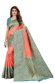 DD 135 Peach Colour Silver Zari Silk Saree