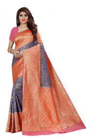 DD 136 N.Blue Red Colour Silver Zari Silk Saree