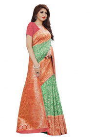 DD 137 Green Red Colour Silver Zari Silk Saree