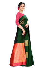 DD 165 Dark Green Colour Silk Saree
