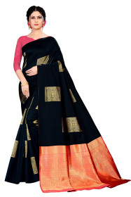 DD 182 Black Red Colour Silk Saree