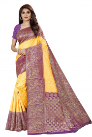 DD 132 Mango Purple Colour Gold Silk Saree